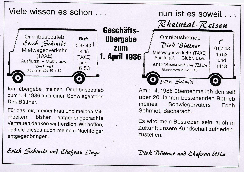 Betiebsübernahme 01.04.1986
